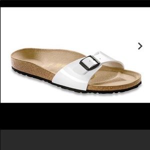Birkenstock Madrid 8 white leather slide sandal.